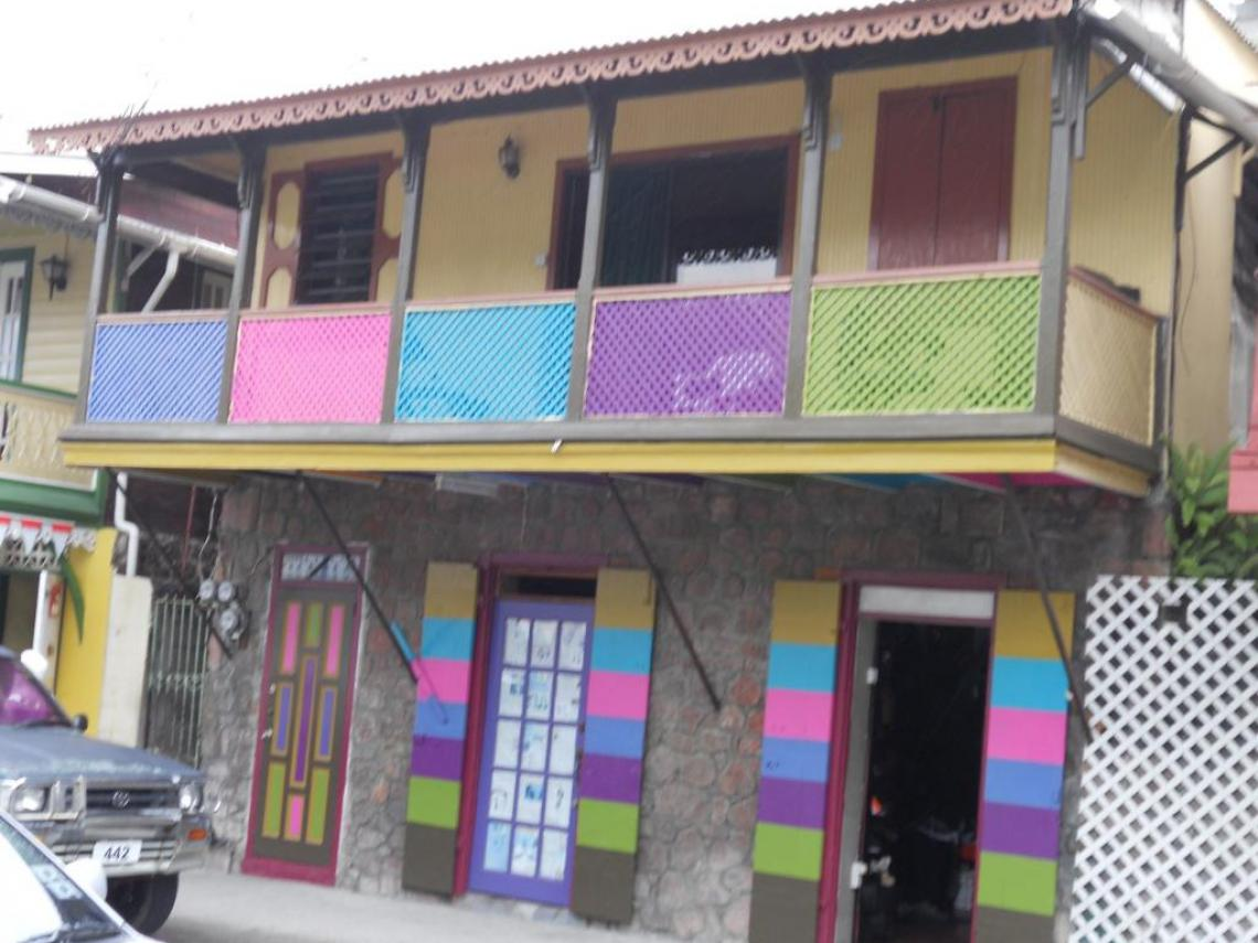 Coloured house in Roseau, The Dominican Republic