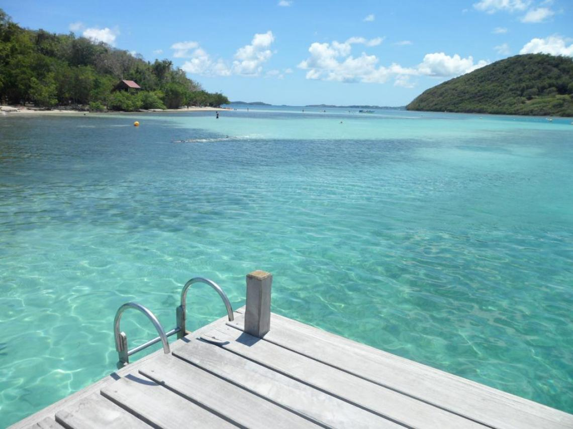 The turquoise waters off the Ilet Madame