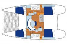 Plan Lagoon 380 - 4 cabines